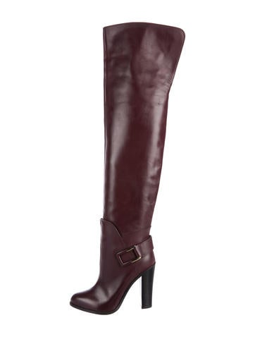 Sergio Rossi Leather Over-The-Knee Boots None