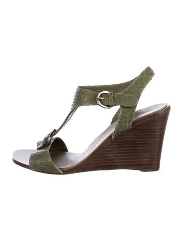 Sergio Rossi Embossed Leather Wedges None