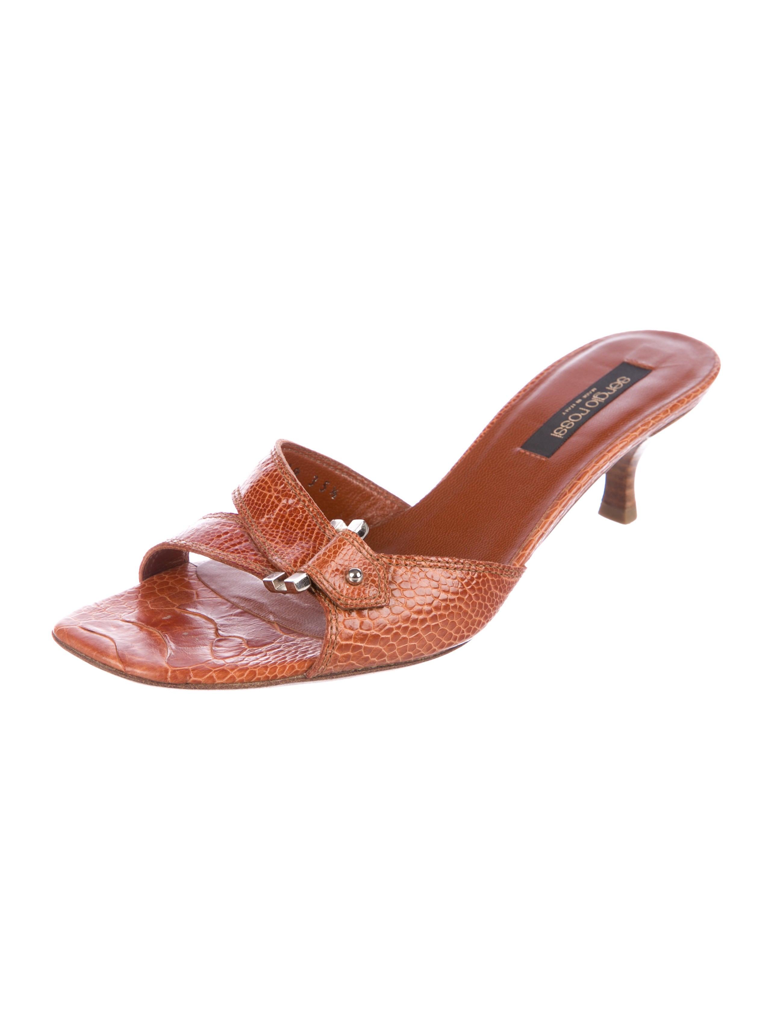 Sergio Rossi Ostrich Leg Slide Sandals free shipping perfect x3v86
