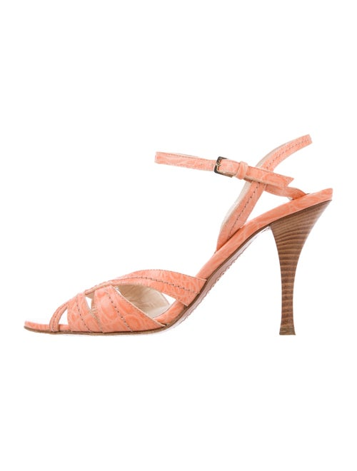 Sergio Rossi Leather Crossover Sandals Coral