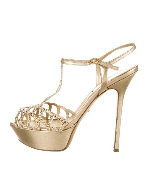Sergio Rossi Leather T-Strap Sandals Gold
