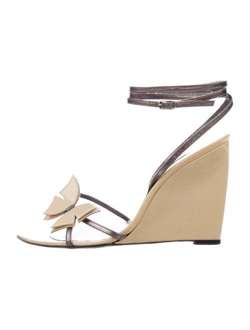 Sergio Rossi Embellished Wedge Sandals tan