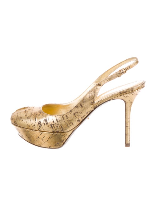 Sergio Rossi Leather Printed Slingback Pumps Gold