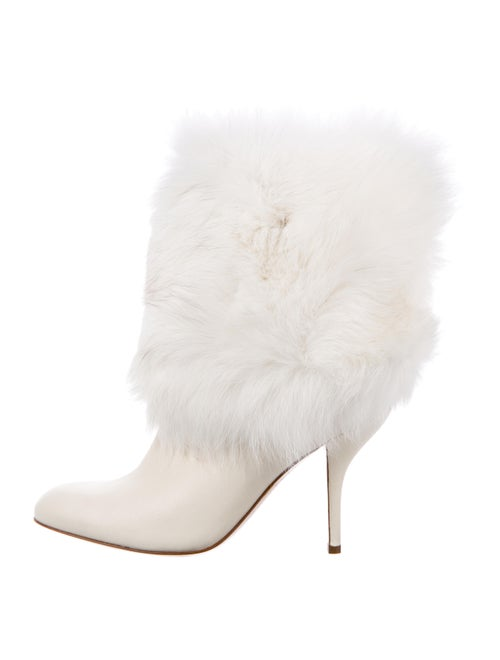 Sergio Rossi Leather Fur-Trimmed Boots
