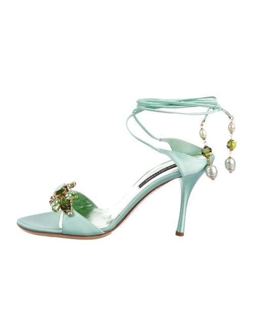 Sergio Rossi Satin Cross Strap Sandals