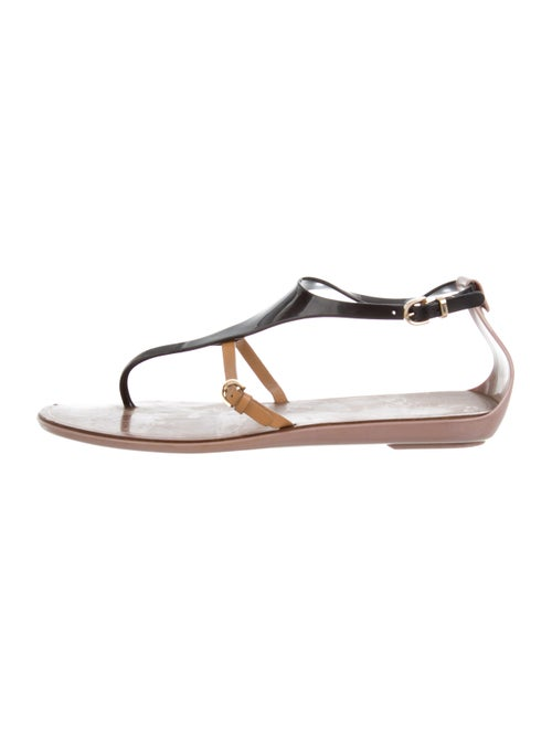Sergio Rossi Rubber Thong Sandals Black