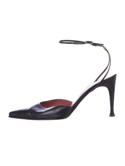 Sergio Rossi Leather Pointed-Toe Pumps Black