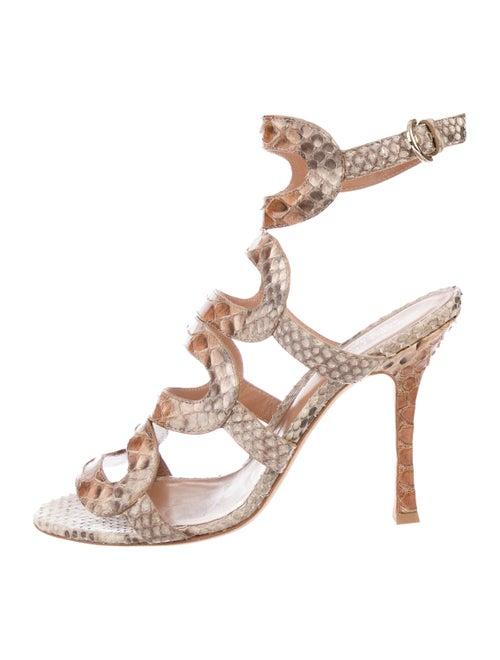 Sergio Rossi Snakeskin Ankle Strap Sandals Tan