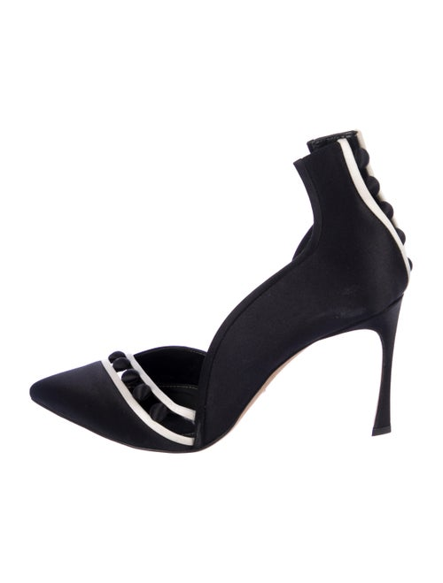 Sergio Rossi Striped Pointed-Toes Pumps Black