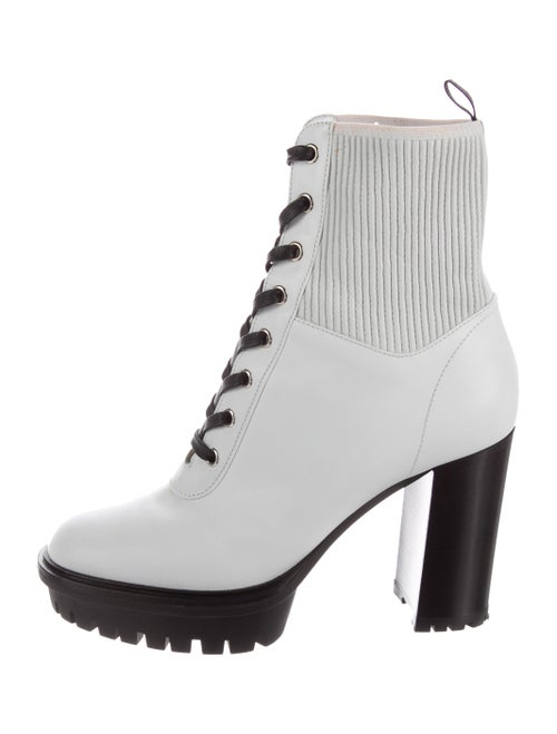 Sergio Rossi Leather Round-Toe Ankle Boots White