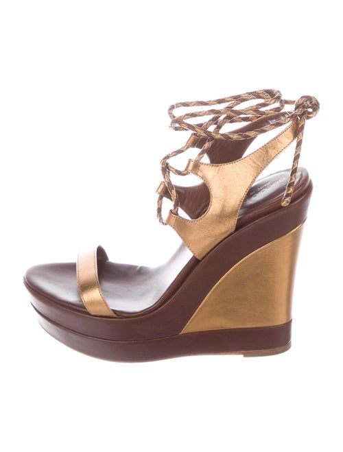 Sergio Rossi Leather Wedge Sandals Brown