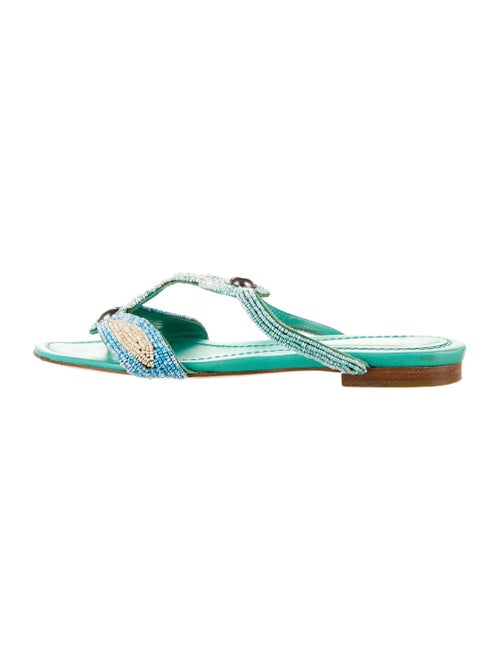 Sergio Rossi Leather Beaded Sandals Mint
