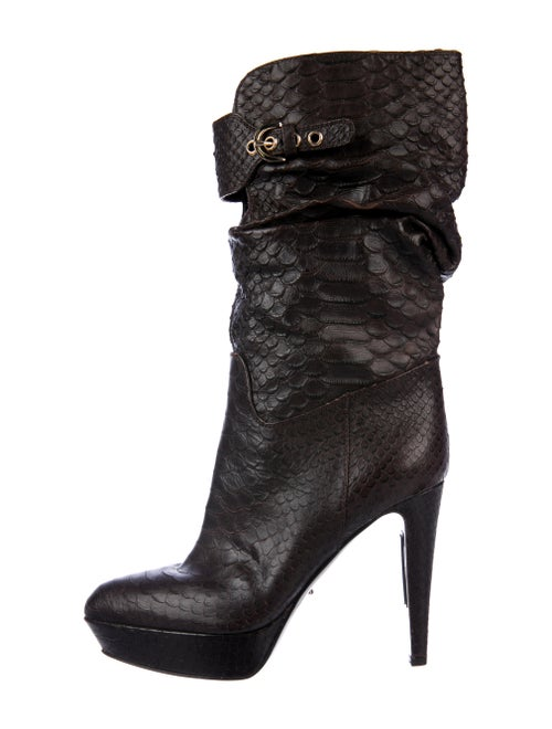 Sergio Rossi Snakeskin Boots Brown
