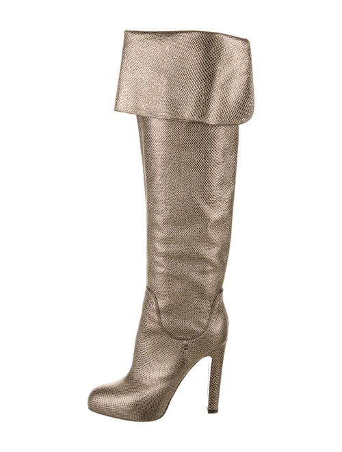 Sergio Rossi Embossed Leather Boots Gold
