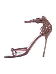 Sergio Rossi Leather Cutout Accent Sandals