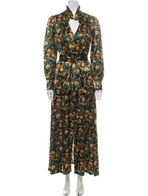 Seren Silk Long Dress Green