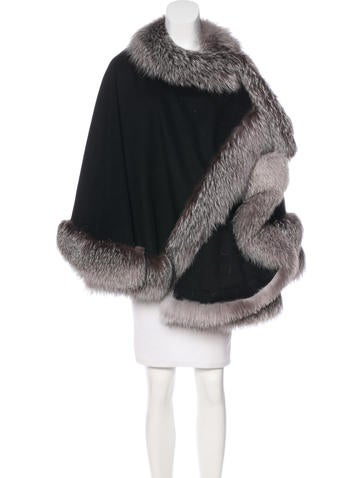 Sofia Cashmere Fox Fur-Trimmed Wool Poncho w/ Tags None