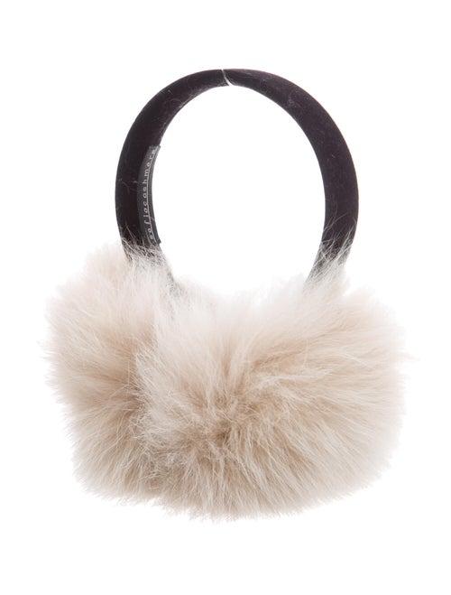Sofia Cashmere Fox Fur Earmuffs Black