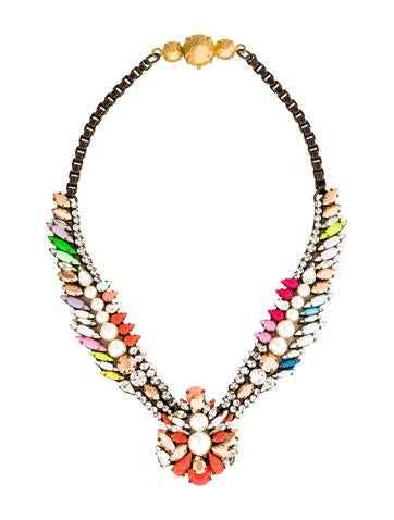 Shourouk Crystal & Faux Pearl Collar Necklace None