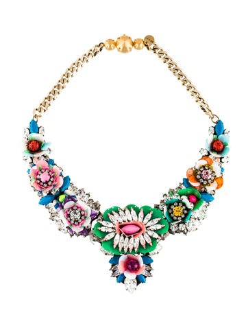 Shourouk Crystal Floral Statement Necklace None