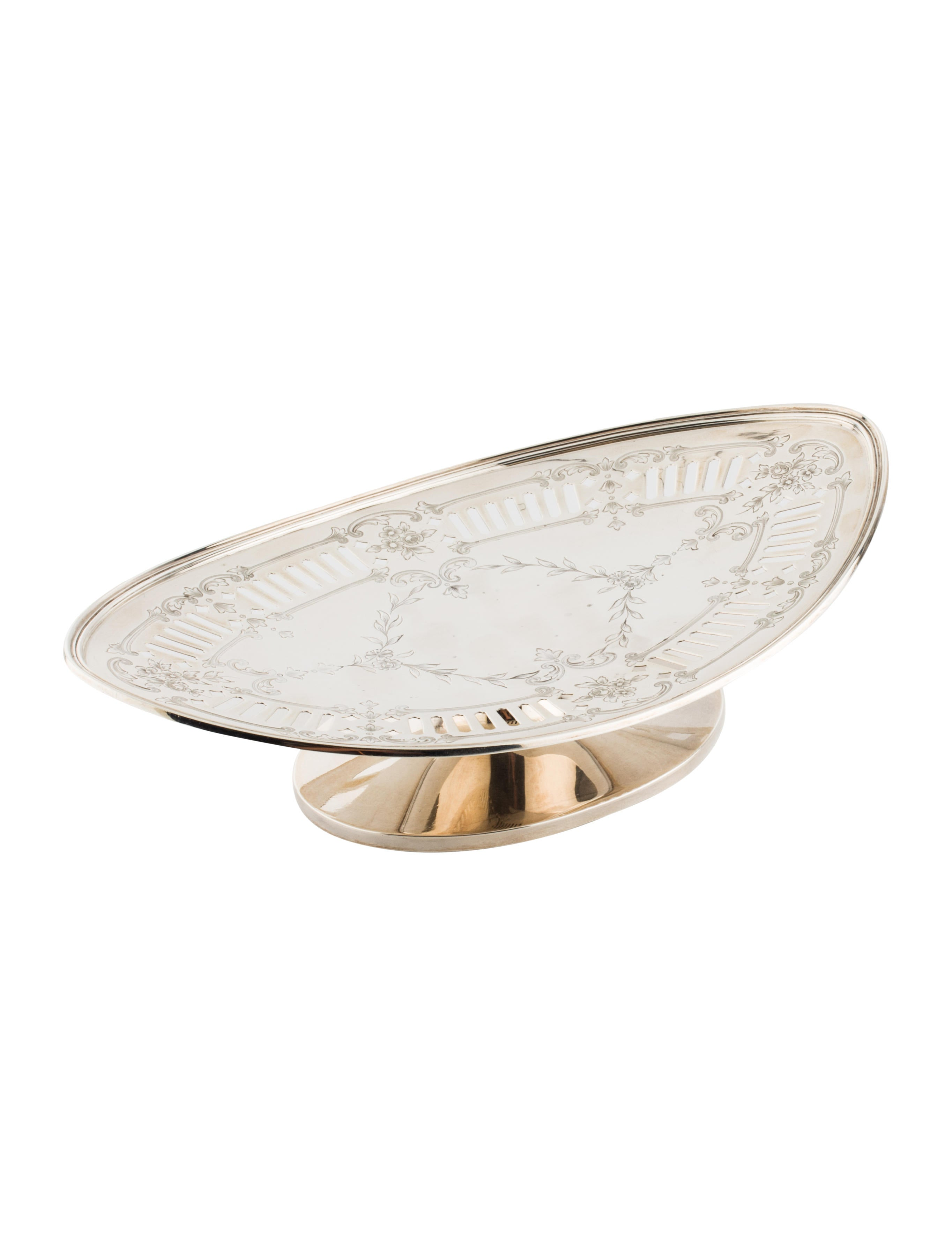 Shreve co sterling pedestal tray decor and for Artistic accents genuine silver decoration