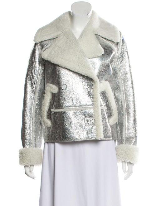 Sies Marjan Metallic Shearling Jacket Silver