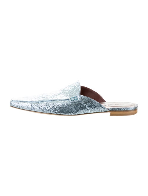 Sies Marjan Metallic Leather Square-Toe Mules Blue