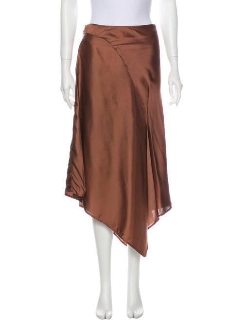 Sies Marjan Silk Midi Length Skirt Brown