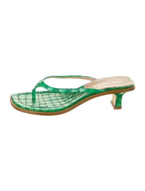 Sies Marjan Crocodile Sandals Green