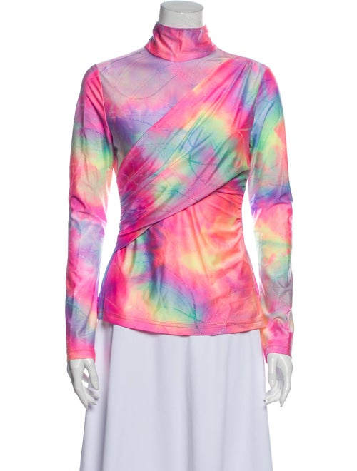 Sies Marjan Tie-Dye Print Mock Neck Sweatshirt Pin
