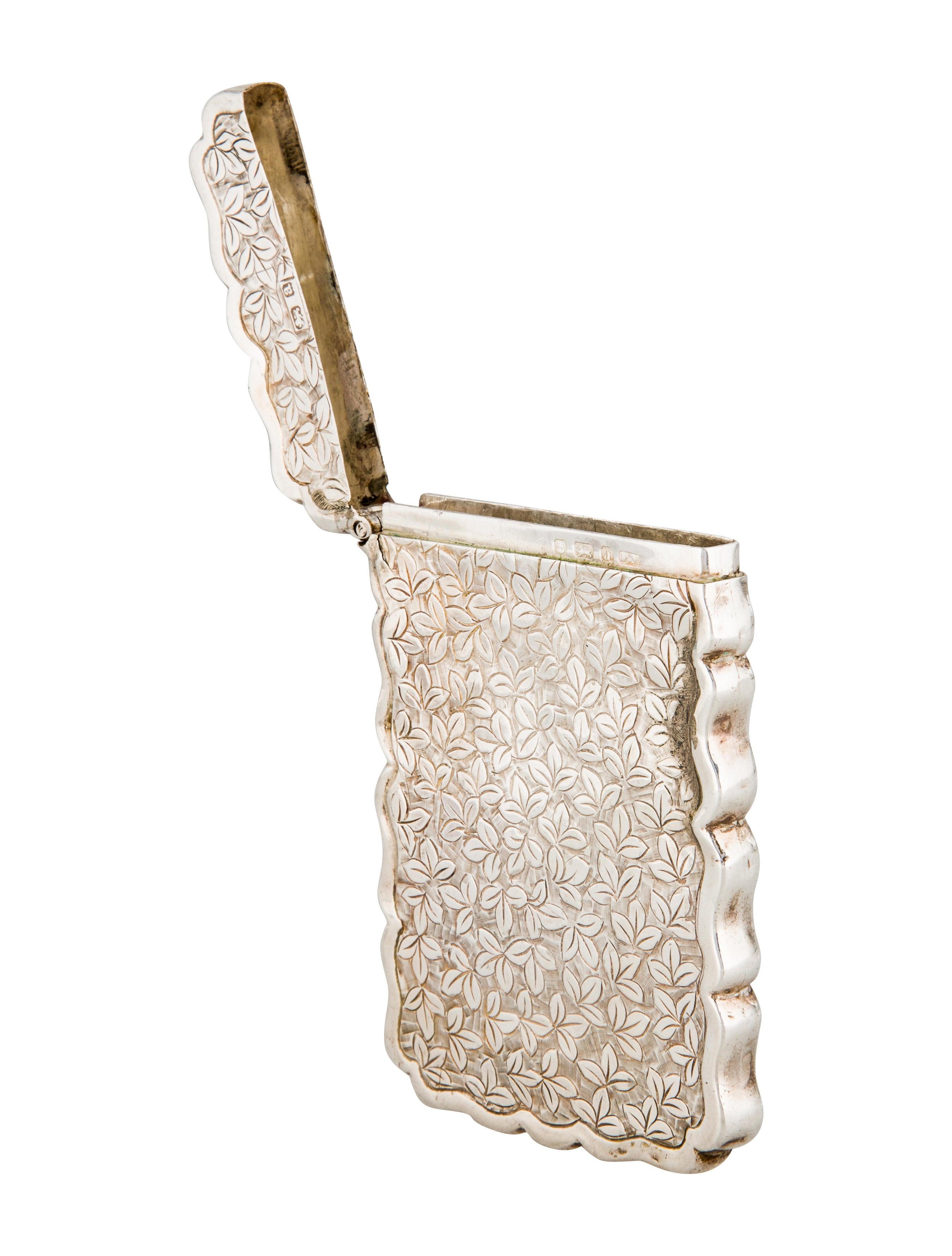 Sterling silver frederick marson antique card case decor for Artistic accents genuine silver decoration