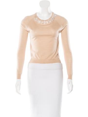 Simone Rocha Embellished Wool & Silk Top w/ Tags None