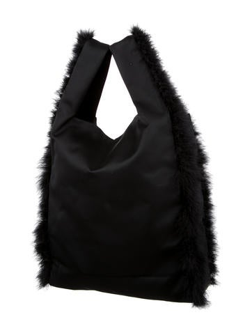 Feather Trim Shopper Bag