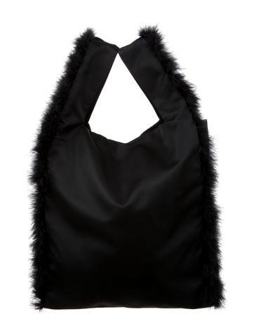 Feather Trim Shopper Bag