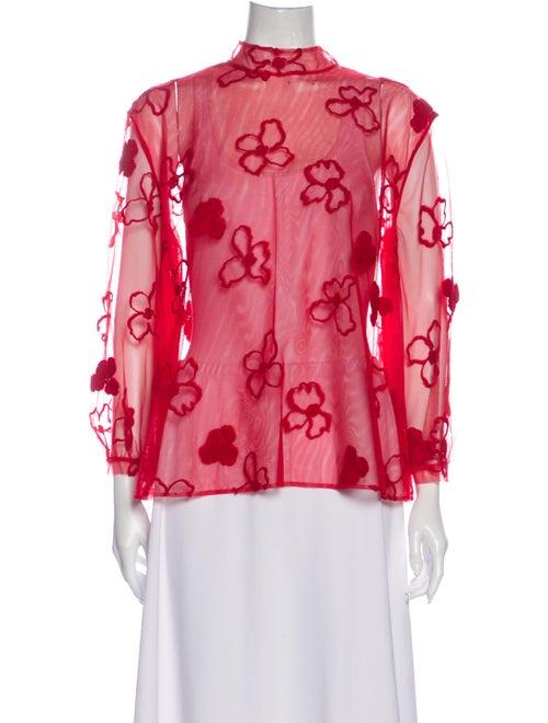 Simone Rocha Floral Print Mock Neck Blouse Red