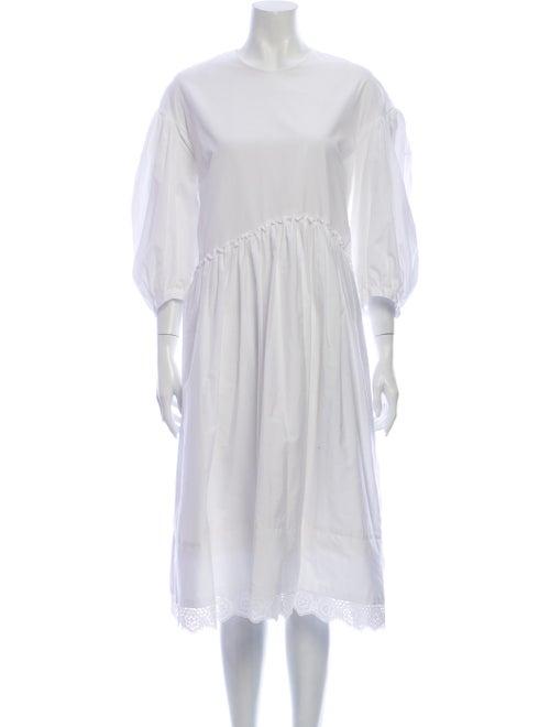 Simone Rocha Crew Neck Midi Length Dress White