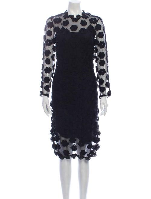 Simone Rocha Lace Pattern Knee-Length Dress Black