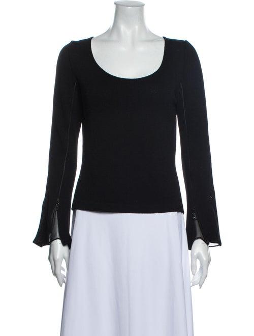 St John Evening Scoop Neck Long Sleeve Top Black