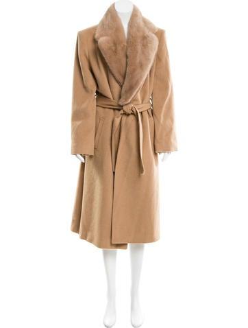 Mink-Trimmed Camel Coat