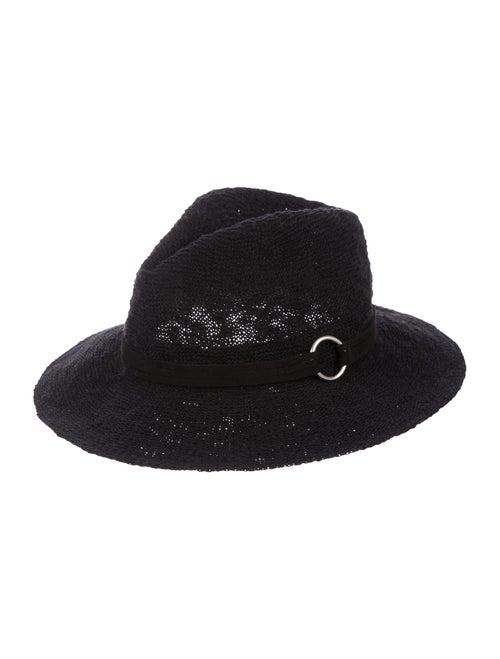 Saks Fifth Avenue Woven Fedora Hat Black