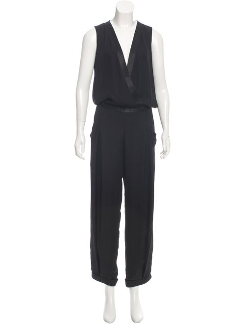 Sally LaPointe Sleeveless Silk Jumpsuit Black