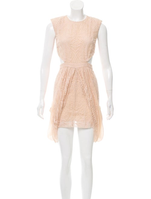 Sally LaPointe Lace Cutout Dress Pink