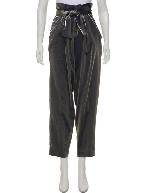 Sally LaPointe Lamé High-Rise Pants