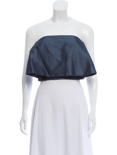 Sally LaPointe Strapless Cropped Top Blue