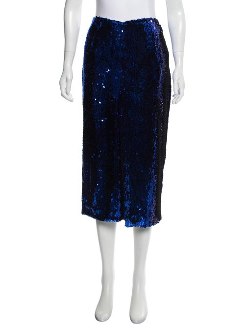 Sally LaPointe 2019 Sequin Embellished Skirt Blue