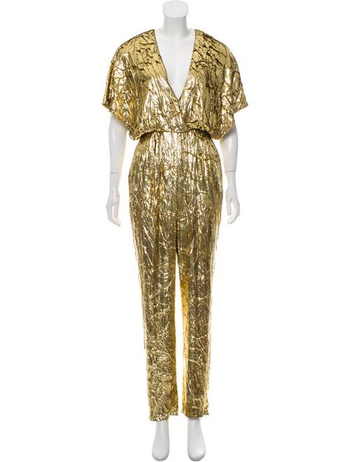 Sally LaPointe Plunge Neckline Jumpsuit Gold