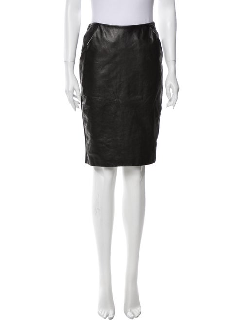 Sally LaPointe Leather Knee-Length Skirt Black