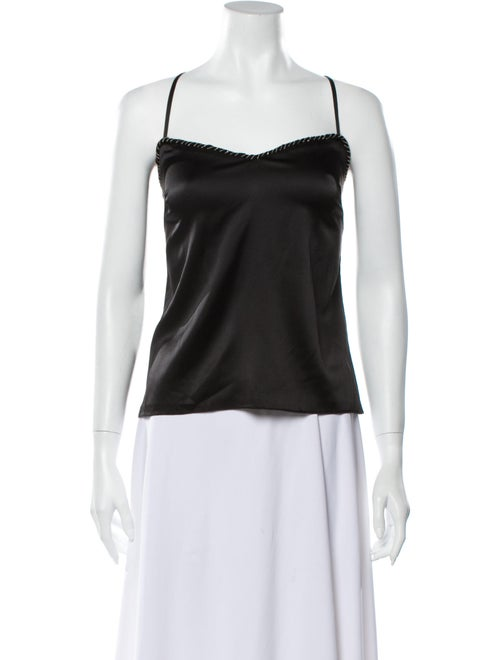 Sally LaPointe Silk Square Neckline Top Black