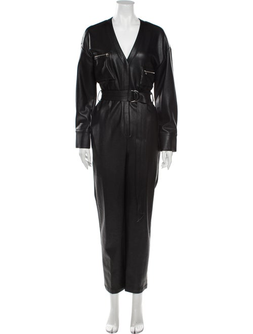 Sally LaPointe V-Neck Jumpsuit Black
