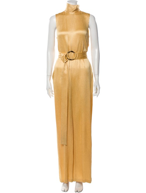 Sally LaPointe Mock Neck Jumpsuit Gold